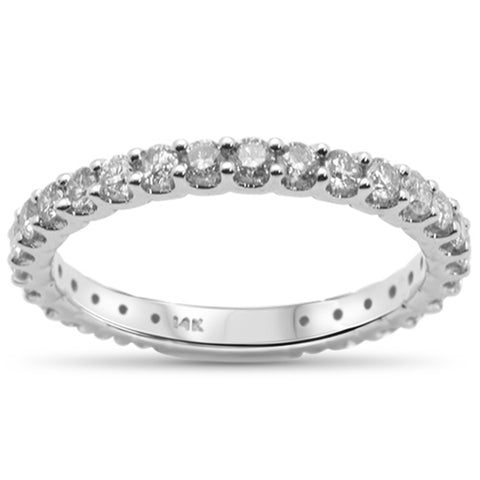 .78ct 14K White Gold Diamond Eternity Diamond Wedding Band Ring Size 6.5