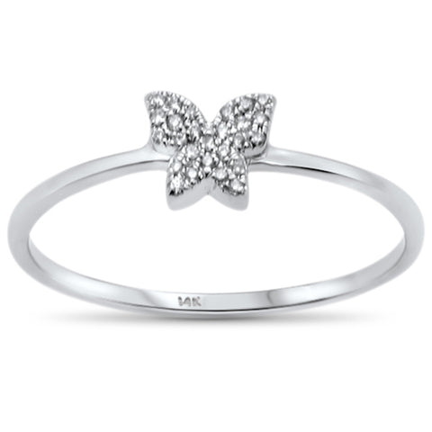 .05ct 14KT White Gold Trendy Butterfly Diamond Ring Size 6.5