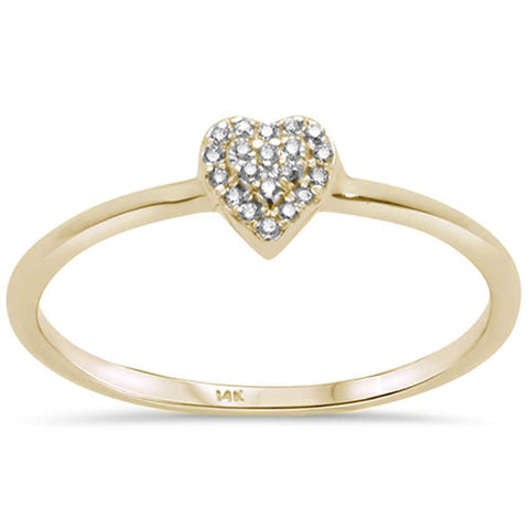 .03ct G SI 14K Yellow Gold Diamond Trendy Heart Ring Size 6.5