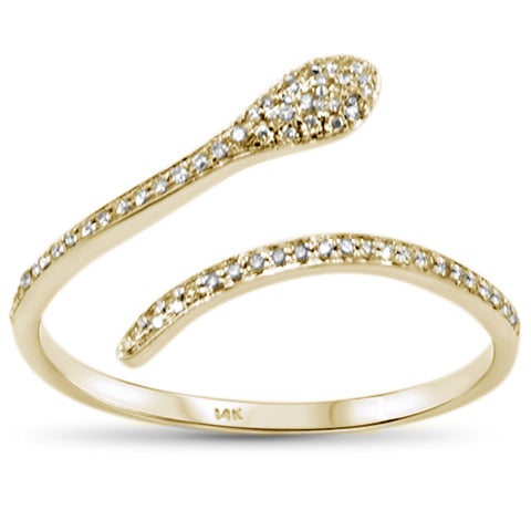 .11ct 14KT Yellow Gold Snake Serpent Trendy Wrap around Diamond Ring