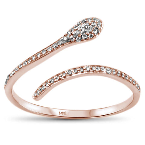 .09ct F SI 14K Rose Gold Diamond Trendy Snake Wrap Around Ring Size 6.5