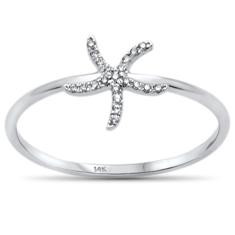 .04ct 14KT White Gold Trendy Starfish Diamond Ring Size 6.5