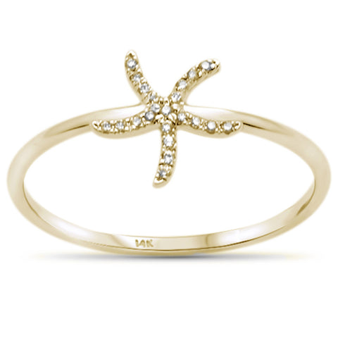 .04ct 14KT Yellow Gold Trendy Starfish Diamond Ring Size 6.5