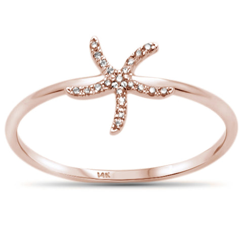 .03ct 14KT Rose Gold Trendy Starfish Diamond Ring Size 6.5