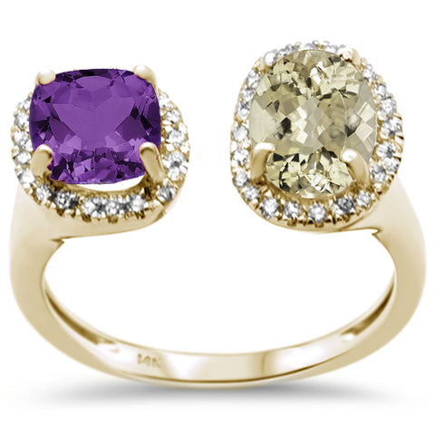 2.17ct 14K Yellow Gold Green & Purple Amethyst Diamond Open Ring Size 6.5