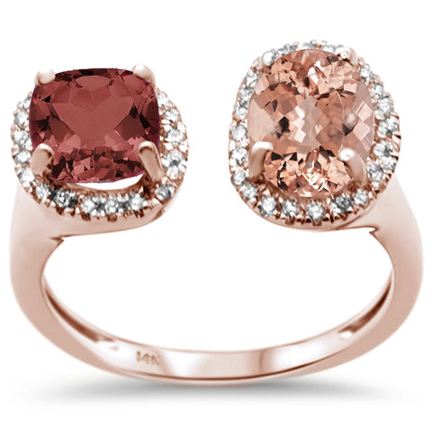 2.99ct 14K Rose Gold Natural Garnet, Morganite & Diamond Ring Size 6.5