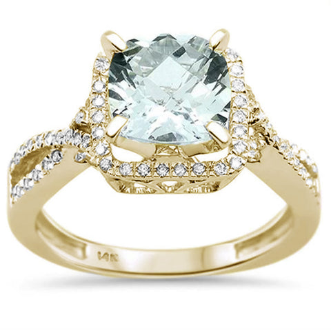 2.18ct 14K Yellow Gold Natural Green Amethyst & Diamond Ring Size 6.5