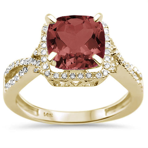 2.70ct 14K Yellow Gold Natural Garnet & Diamond Ring Size 6.5