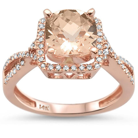 2.42ct 14K Rose Gold Natural Morganite & Diamond Ring Size 6.5