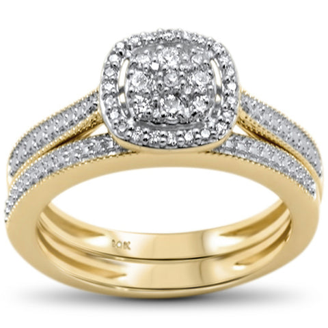 .25ct F SI 10kt Yellow Gold Diamond Enagement Bridal Ring Set