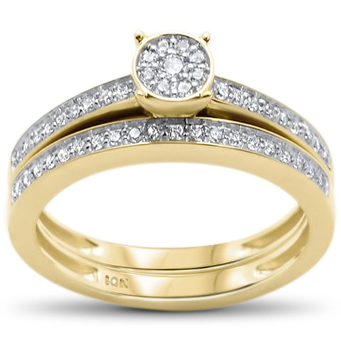 .25ct F SI 10kt Yellow Gold Diamond Engagement Bridal Ring Set