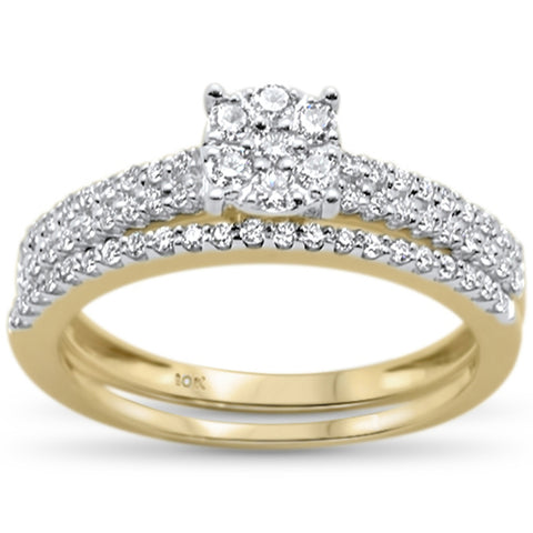 .50ct F SI 10kt Yellow Gold Diamond Engagement Bridal Ring Set