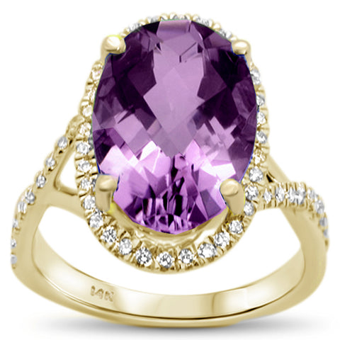 5.33ct 14k Yellow Gold Oval Natural Amethyst & Diamond Ring Size 6.5