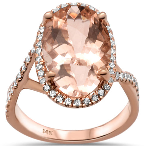 5.06ct 14k Rose Gold Oval Natural Morganite & Diamond Ring Size 6.5