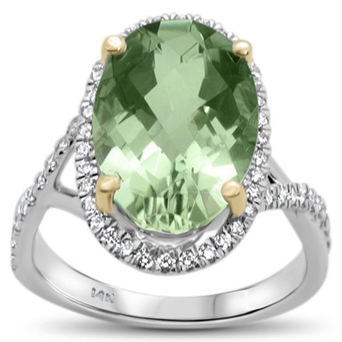 5.72ct 14k White Gold Natural Oval Green Amethyst & Diamond Ring Size 6.5