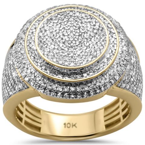 "<span style=""color:purple"">SPECIAL!</span> 1.05ct G SI 10K Yellow Gold Diamond Men's Iced out Micro Pave Ring Size 10"
