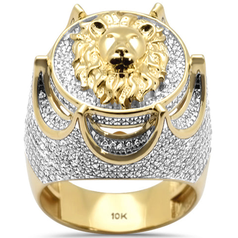 "<span style=""color:purple"">SPECIAL!</span> 1.44ct G SI 10K Yellow Gold Diamond Men's Iced out Lion Signet Micro Pave Ring"