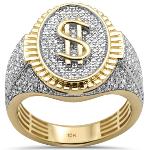 "<span style=""color:purple"">SPECIAL!</span> .87ct G SI 10K Yellow Gold Diamond Men's Iced out Micro Pave Dollar Sign Ring Size 10"