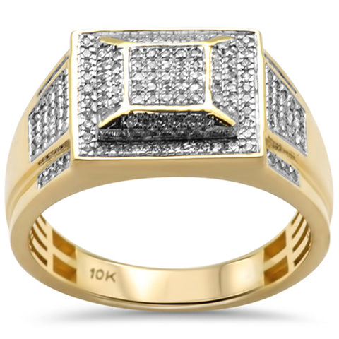 "<span style=""color:purple"">SPECIAL!</span>.36ct G SI 10K Yellow Gold Diamond Men's Micro Pave Ring Size 10"