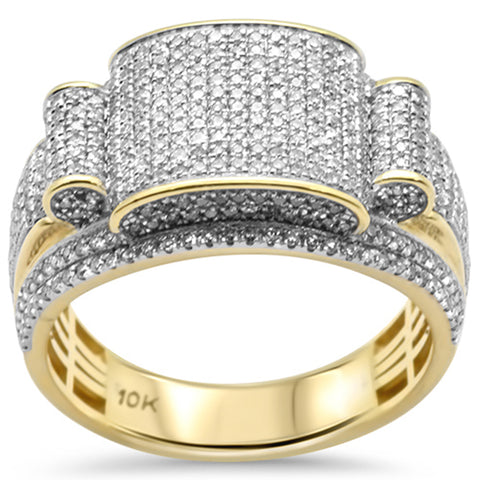 "<span style=""color:purple"">SPECIAL!</span> 1.13ct G SI 10K Yellow Gold Diamond Men's Iced out Micro Pave Ring Size 10"