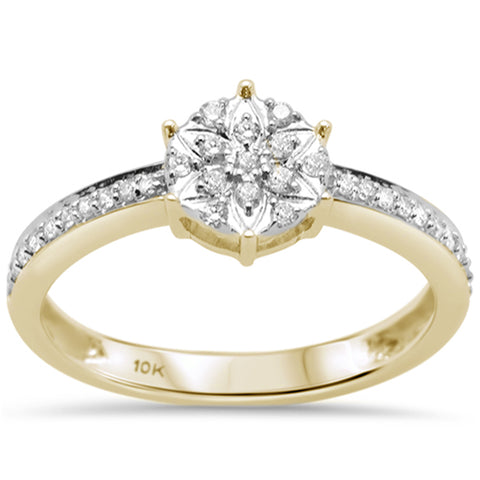 .21ct G SI 10K Yellow Gold Round Diamond Engagement Promise Ring Size 6.5