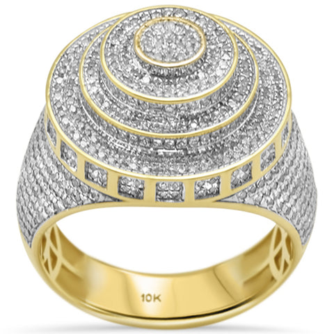 "<span style=""color:purple"">SPECIAL!</span>1.48ct G SI 10K Yellow Gold Men's Micro Pave Diamond Fashion Ring Size 10"