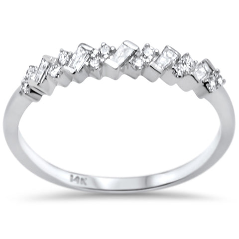 .21ct F SI 14K White Gold Baguette & Round Diamond Fine Band Ring Size 6.5