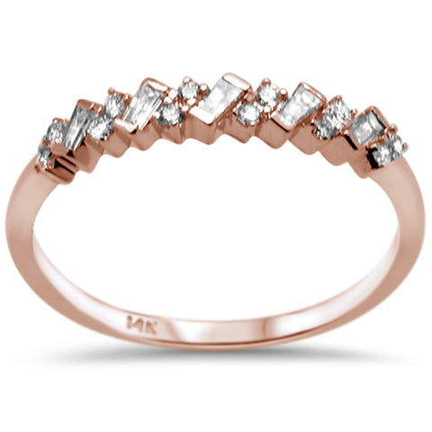 .22ct F SI 14K Rose Gold Baguette & Round Diamond Fine Band Ring Size 6.5