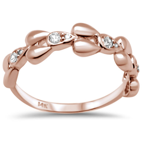 .20ct F SI 14K Rose Gold Round Diamond Trendy Fine Band Ring Size 6.5