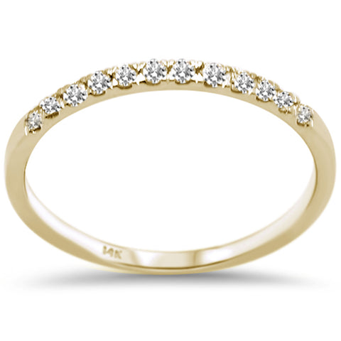 .18ct F SI 14K Yellow Gold Round Diamond Wedding Band Anniversary Stackable Ring