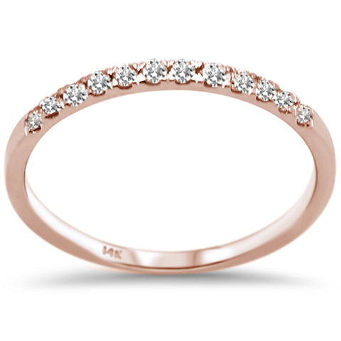 .18ct F SI 14K Rose Gold Round Diamond Wedding Band Anniversary Stackable Ring