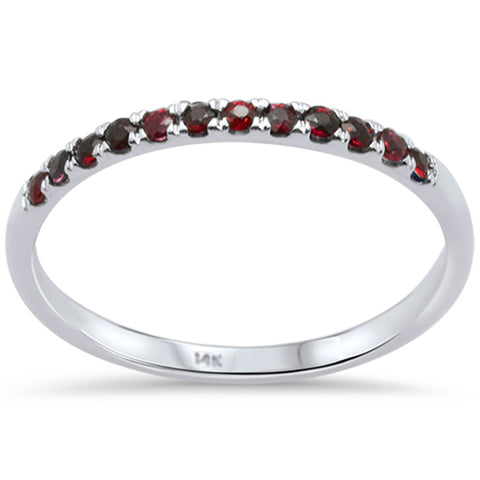 .22ct F SI 14K White Gold Natural Ruby Wedding Band Anniversary Stackable Ring