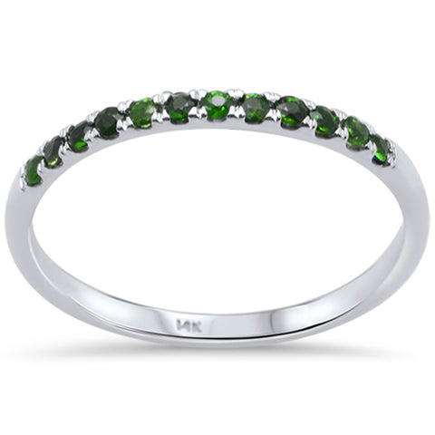 .17ct F SI 14K White Gold Green Emerald Wedding Band Anniversary Stackable Ring