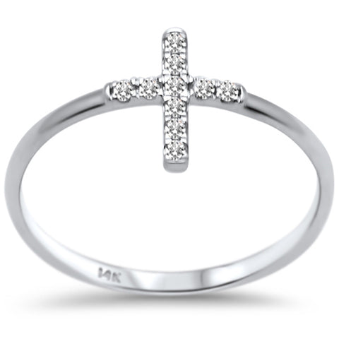 .10ct F SI 14K White Gold Cross Purity Diamond Trendy Ladies Ring Size 6.5