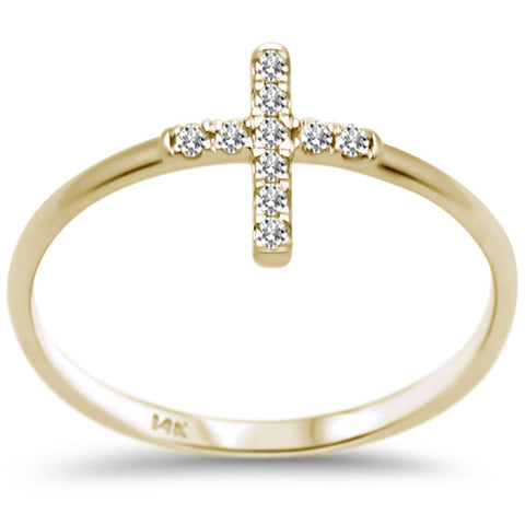 .10ct F SI 14K Yellow Gold Cross Purity Diamond Trendy Ladies Ring Size 6.5