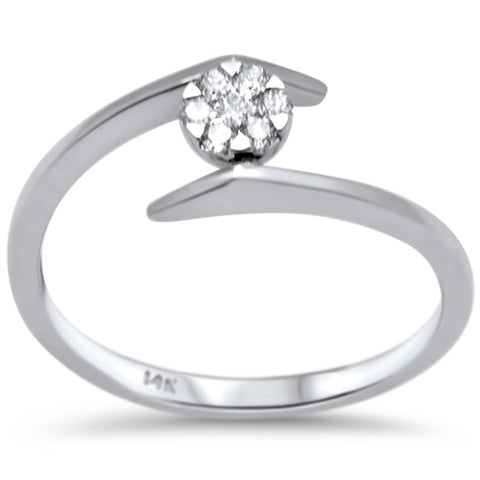 .12ct F SI 14K White Gold Modern Diamond Solitaire Engagement Ring Size 6.5