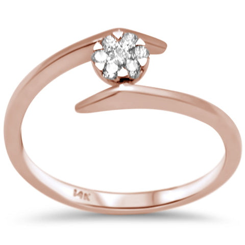 .12ct F SI 14K Rose Gold Modern Diamond Solitaire Engagement Ring Size 6.5