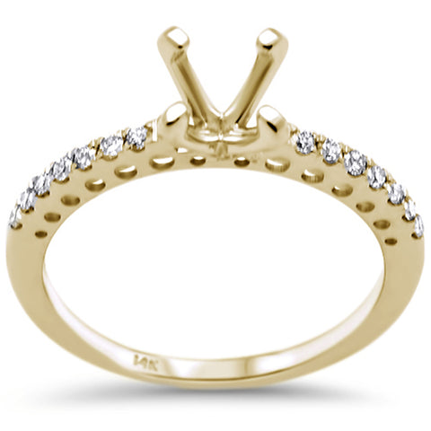 .16ct F SI 14K Yellow Gold Diamond Semi Mount Engagement Ring Size 6.5