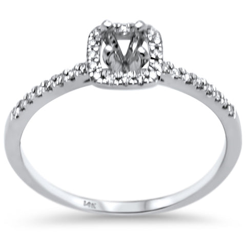 .13ct F SI 14K White Gold Diamond Semi Mount Engagement Ring Size 6.5