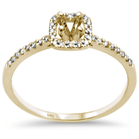.13ct F SI 14K Yellow Gold Diamond Semi Mount Engagement Ring Size 6.5