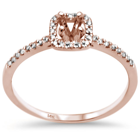.13ct F SI 14K Rose Gold Diamond Semi Mount Engagement Ring Size 6.5