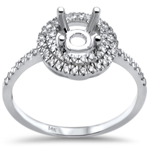 .26ct F SI 14K White Gold Diamond Semi Mount Engagement Ring Size 6.5