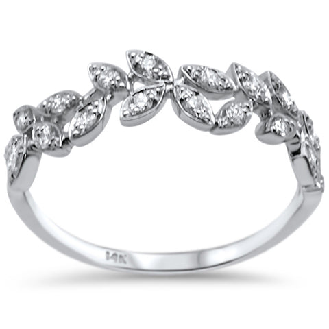 .23ct F SI 14K White Gold Leaves Fashion Diamond Trendy Band Ring Size 6.5