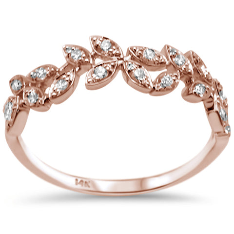 .23ct F SI 14K Rose Gold Fashion Diamond Trendy Band Ring Size 6.5