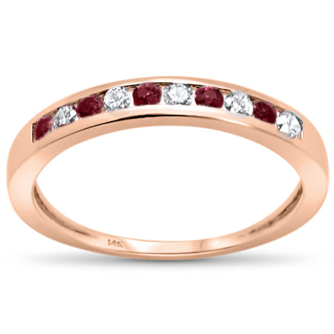 .28ct G SI 14K Rose Gold Ruby Gemstone Anniversary Band Diamond Ring Size 6.5