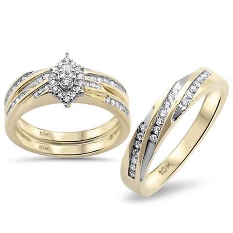 .48CT G SI 10KT Yellow Gold Diamond Men's & Women's Engagement Ring Trio Set