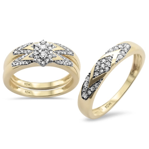.50CT G SI 10KT Yellow Gold Diamond Men's & Women's Engagement Ring Trio Set