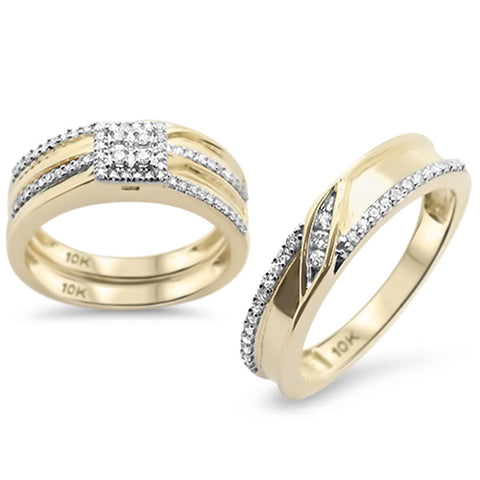 .47CT G SI 10KT Yellow Gold Diamond Men's & Women's Engagement Ring Trio Set