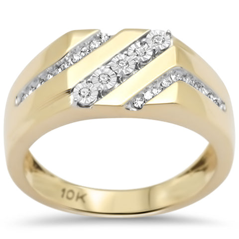 .19ct F SI 10K Yellow Gold Diamond Men's Band Ring Size 10