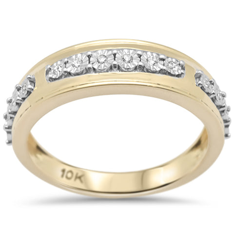 .10ct F SI 10K Yellow Gold Diamond Men's Band Ring Size 10